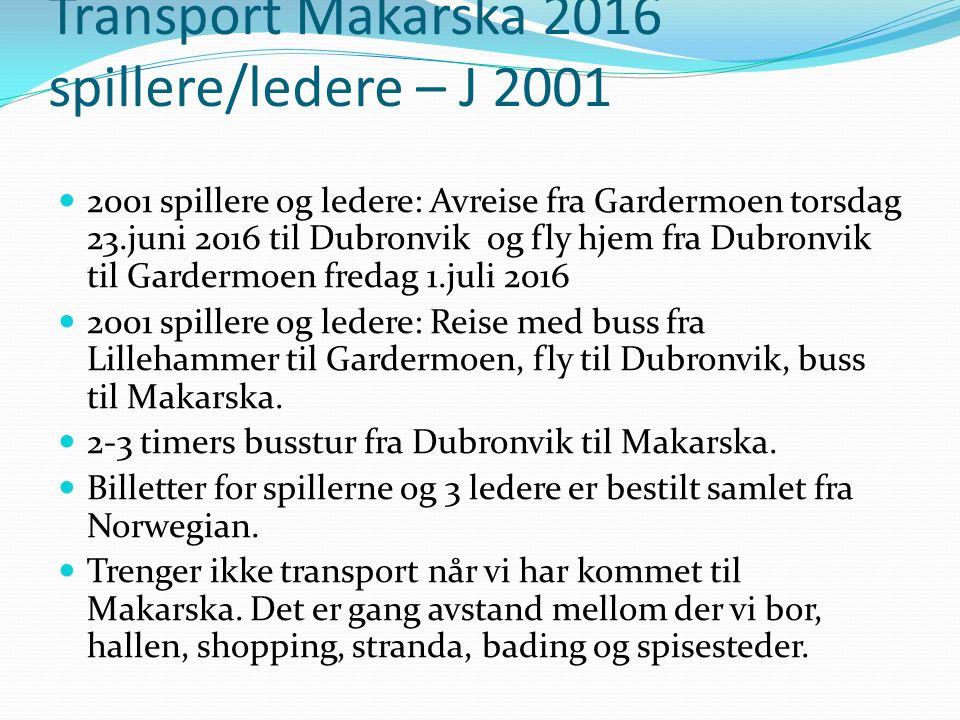 Transport Makarska 2016 spillere/ledere – J 2001 2001 spillere og ledere: Avreise fra Gardermoen torsdag 23.juni 2016 til Dubronvik og fly hjem fra Dubronvik til Gardermoen fredag 1.juli 2016 2001 spillere og ledere: Reise med buss fra Lillehammer til Gardermoen, fly til Dubronvik, buss til Makarska.