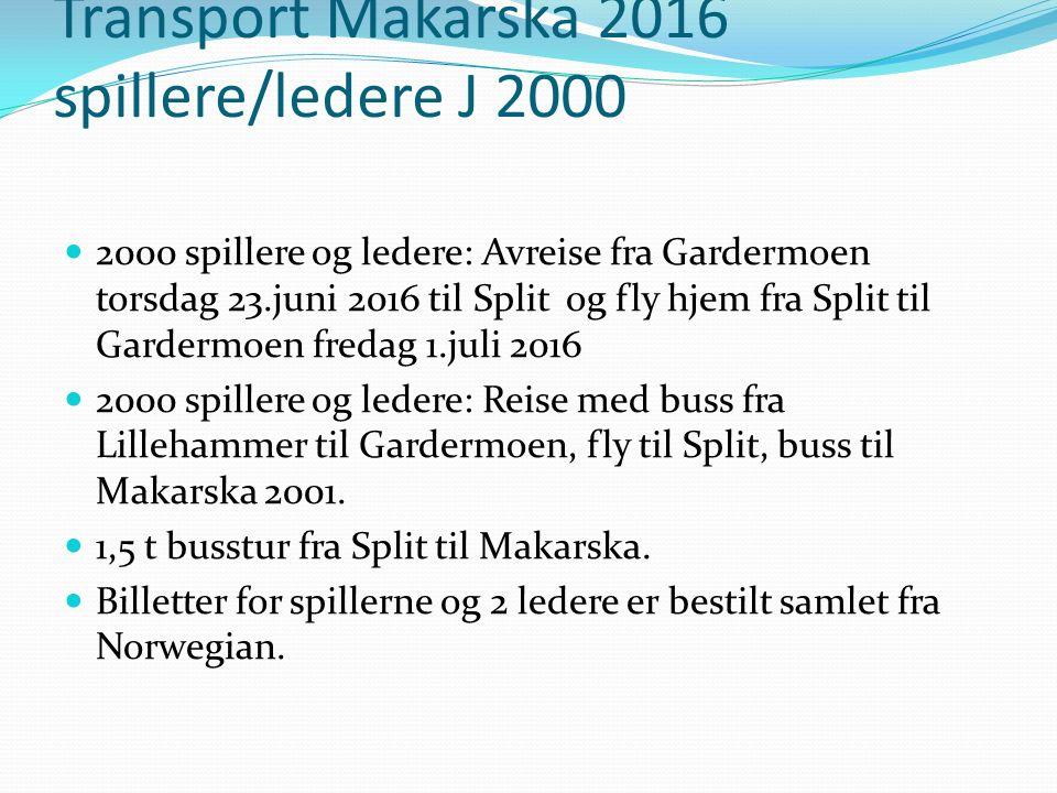 Transport Makarska 2016 spillere/ledere J 2000 2000 spillere og ledere: Avreise fra Gardermoen torsdag 23.juni 2016 til Split og fly hjem fra Split til Gardermoen fredag 1.juli 2016 2000 spillere og ledere: Reise med buss fra Lillehammer til Gardermoen, fly til Split, buss til Makarska 2001.