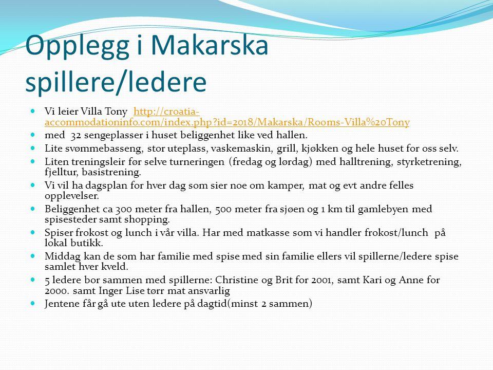 Opplegg i Makarska spillere/ledere Vi leier Villa Tony http://croatia- accommodationinfo.com/index.php id=2018/Makarska/Rooms-Villa%20Tonyhttp://croatia- accommodationinfo.com/index.php id=2018/Makarska/Rooms-Villa%20Tony med 32 sengeplasser i huset beliggenhet like ved hallen.