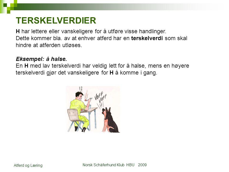 Norsk Schäferhund Klub HBU 2009 Atferd og Læring TERSKELVERDIER H har lettere eller vanskeligere for å utføre visse handlinger.