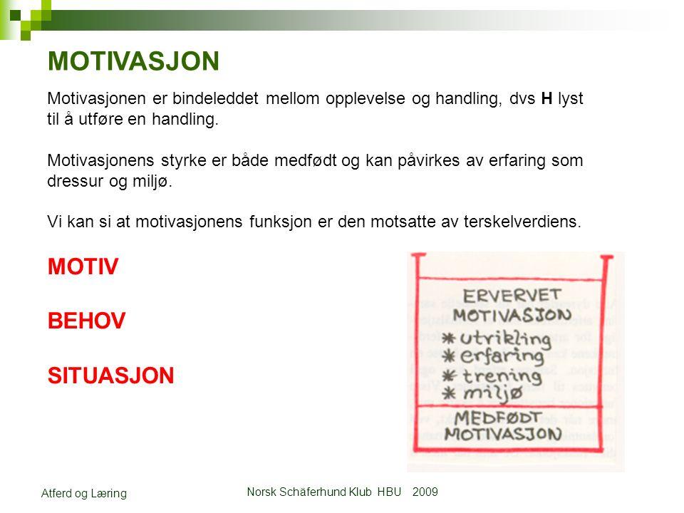 Norsk Schäferhund Klub HBU 2009 Atferd og Læring MOTIVASJON Motivasjonen er bindeleddet mellom opplevelse og handling, dvs H lyst til å utføre en handling.