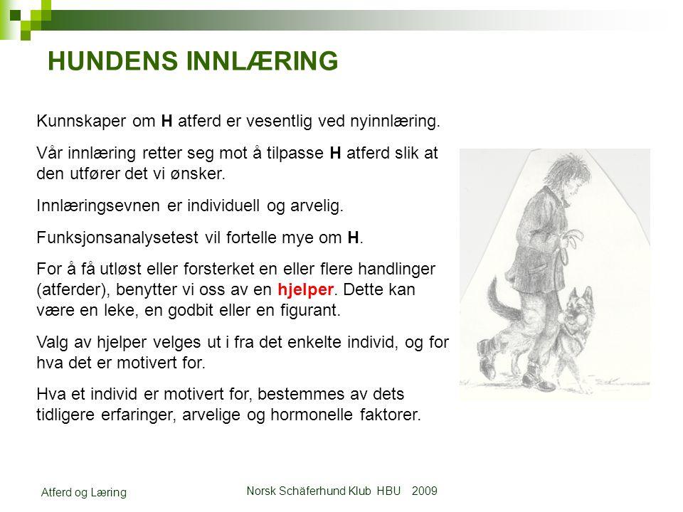 Norsk Schäferhund Klub HBU 2009 Atferd og Læring HUNDENS INNLÆRING Kunnskaper om H atferd er vesentlig ved nyinnlæring.