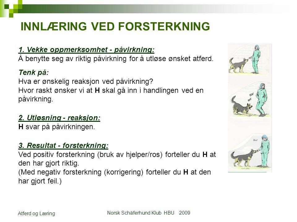 Norsk Schäferhund Klub HBU 2009 Atferd og Læring INNLÆRING VED FORSTERKNING 1.