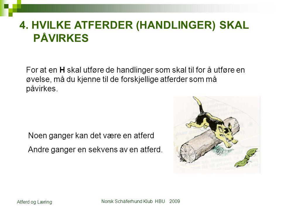 Norsk Schäferhund Klub HBU 2009 Atferd og Læring 4.