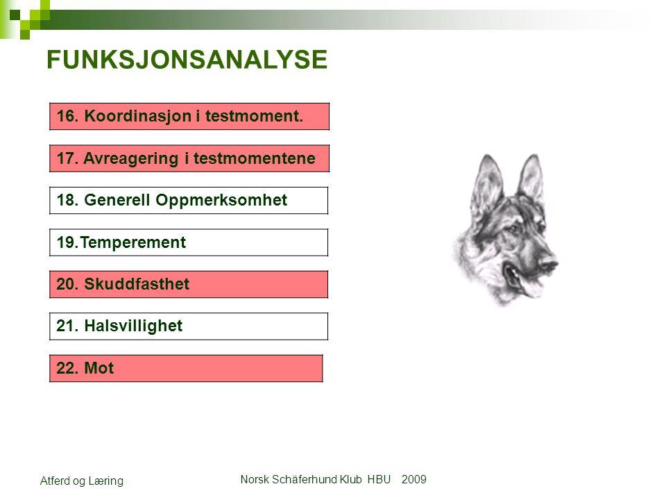 Norsk Schäferhund Klub HBU 2009 Atferd og Læring FUNKSJONSANALYSE