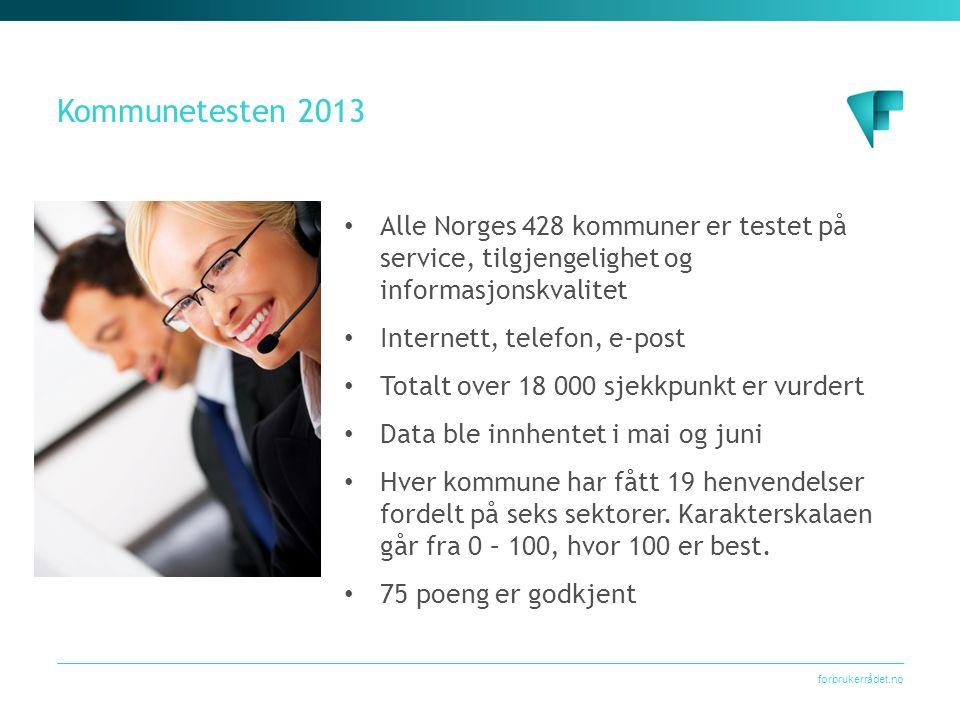 forbrukerrådet.no Kommunetesten 2013 Alle Norges 428 kommuner er testet på service, tilgjengelighet og informasjonskvalitet Internett, telefon, e-post Totalt over 18 000 sjekkpunkt er vurdert Data ble innhentet i mai og juni Hver kommune har fått 19 henvendelser fordelt på seks sektorer.