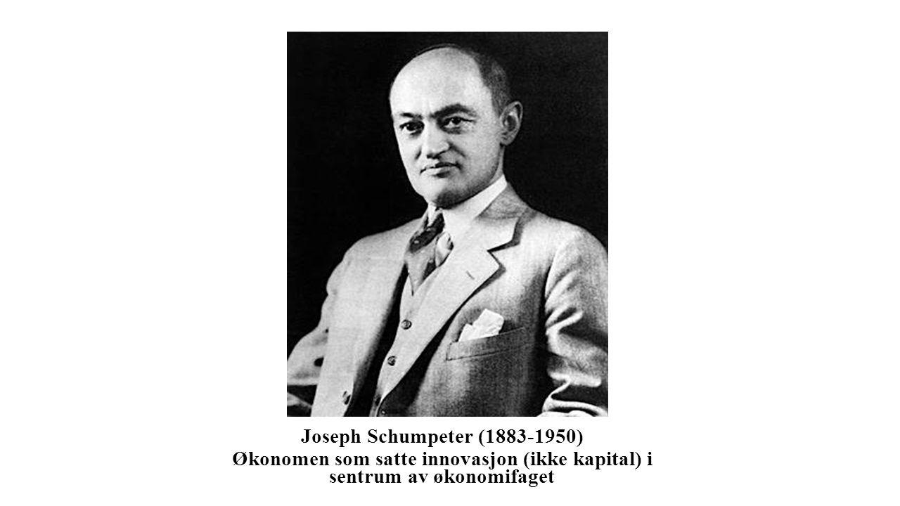 Joseph Schumpeter (1883-1950) Økonomen som satte innovasjon (ikke kapital) i sentrum av økonomifaget