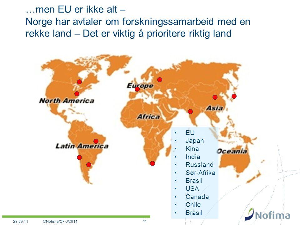 …men EU er ikke alt – Norge har avtaler om forskningssamarbeid med en rekke land – Det er viktig å prioritere riktig land 11 EU Japan Kina India Russland Sør-Afrika Brasil USA Canada Chile Brasil ©Nofima/ØF-J/201128.09.11