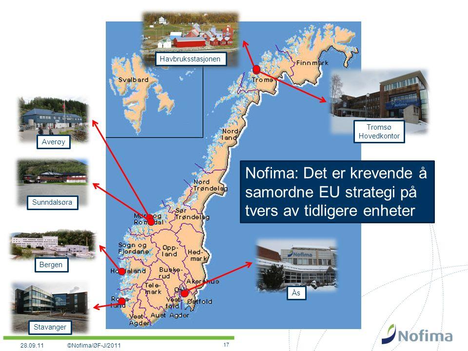17 Tromsø Hovedkontor Havbruksstasjonen Averøy Sunndalsøra Stavanger Ås Nofima: Det er krevende å samordne EU strategi på tvers av tidligere enheter Bergen ©Nofima/ØF-J/201128.09.11