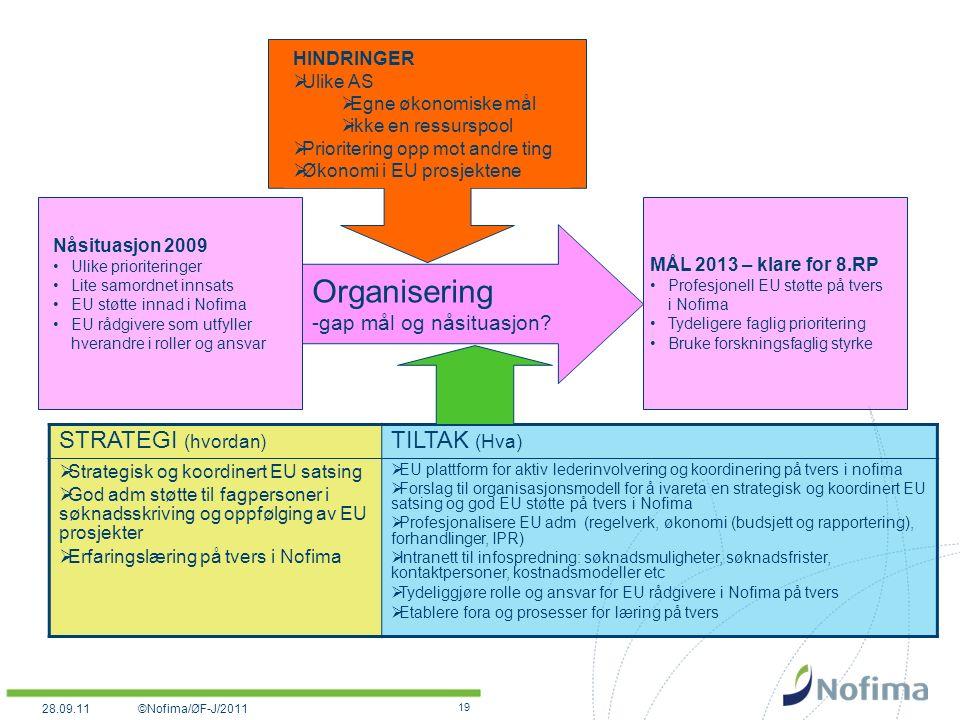 19 Organisering -gap mål og nåsituasjon.