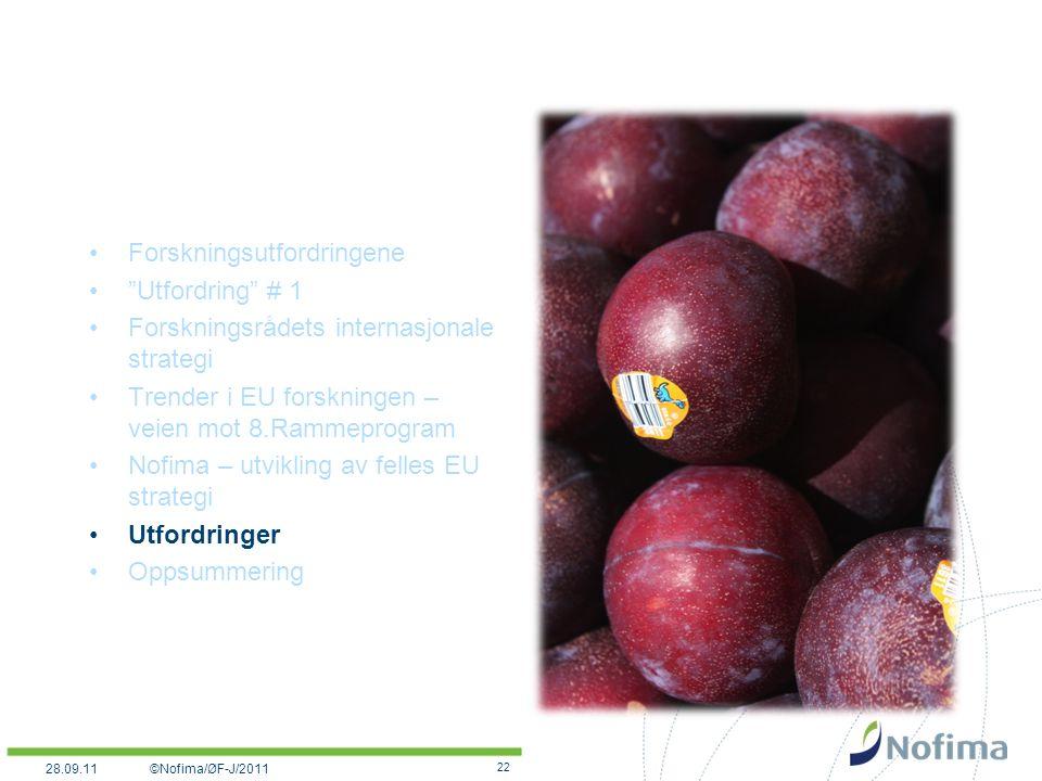 Forskningsutfordringene Utfordring # 1 Forskningsrådets internasjonale strategi Trender i EU forskningen – veien mot 8.Rammeprogram Nofima – utvikling av felles EU strategi Utfordringer Oppsummering 22 ©Nofima/ØF-J/201128.09.11