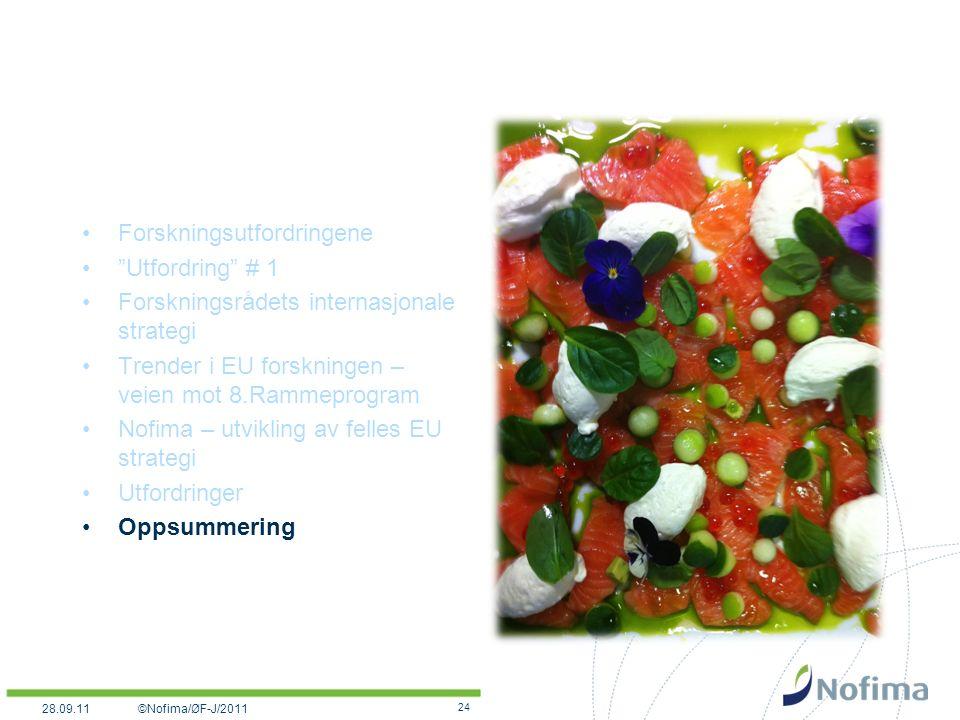 Forskningsutfordringene Utfordring # 1 Forskningsrådets internasjonale strategi Trender i EU forskningen – veien mot 8.Rammeprogram Nofima – utvikling av felles EU strategi Utfordringer Oppsummering 24 ©Nofima/ØF-J/201128.09.11