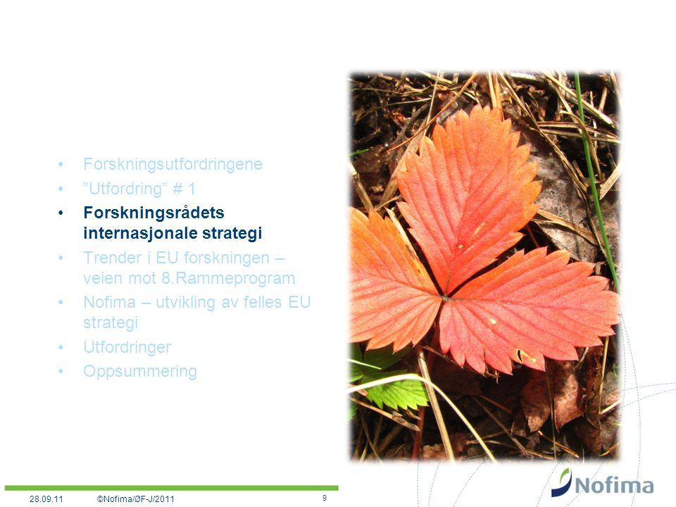 Forskningsutfordringene Utfordring # 1 Forskningsrådets internasjonale strategi Trender i EU forskningen – veien mot 8.Rammeprogram Nofima – utvikling av felles EU strategi Utfordringer Oppsummering 9 ©Nofima/ØF-J/201128.09.11