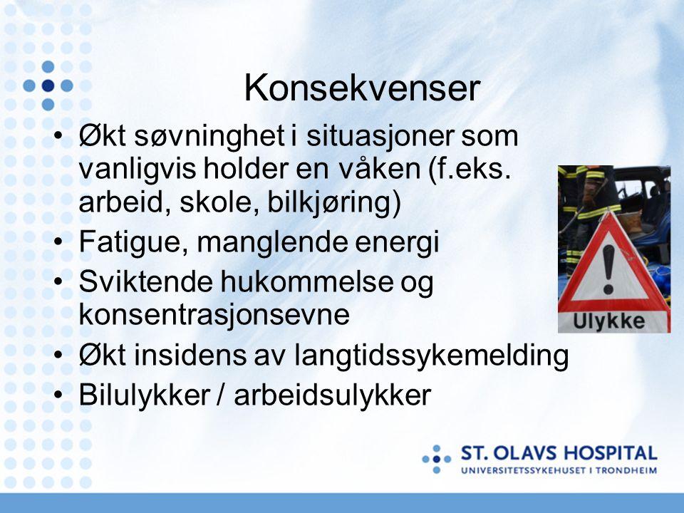 Obstruktiv søvnapne Snorking, ofte høyt Observerte pustestopp under søvn Gisping eller kvelningsfornemmelse som vekker pasienten Urolig sovestilling, oppvåkninger Våkner uten å være opplagt Morgenhodepine Sår hals