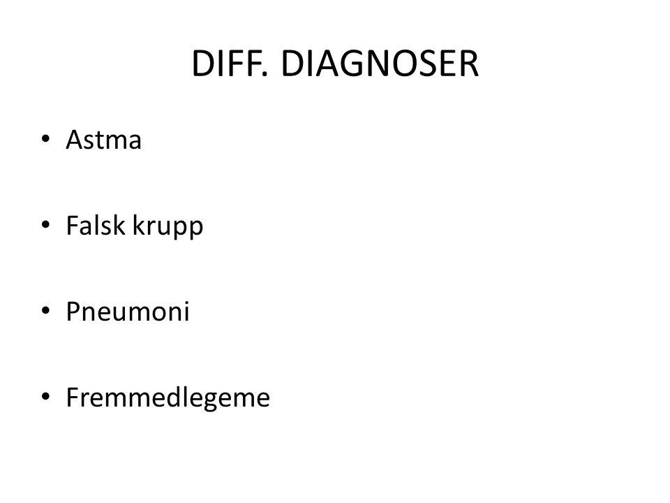 DIFF. DIAGNOSER Astma Falsk krupp Pneumoni Fremmedlegeme