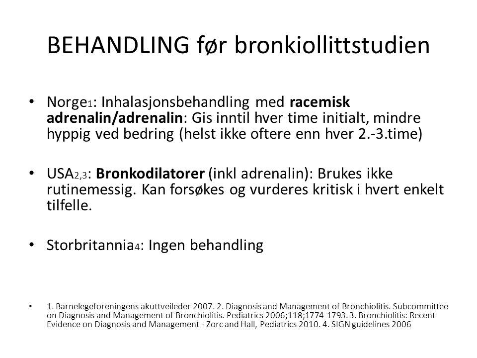 BEHANDLING før bronkiollittstudien Norge 1 : Inhalasjonsbehandling med racemisk adrenalin/adrenalin: Gis inntil hver time initialt, mindre hyppig ved bedring (helst ikke oftere enn hver 2.-3.time) USA 2,3 : Bronkodilatorer (inkl adrenalin): Brukes ikke rutinemessig.