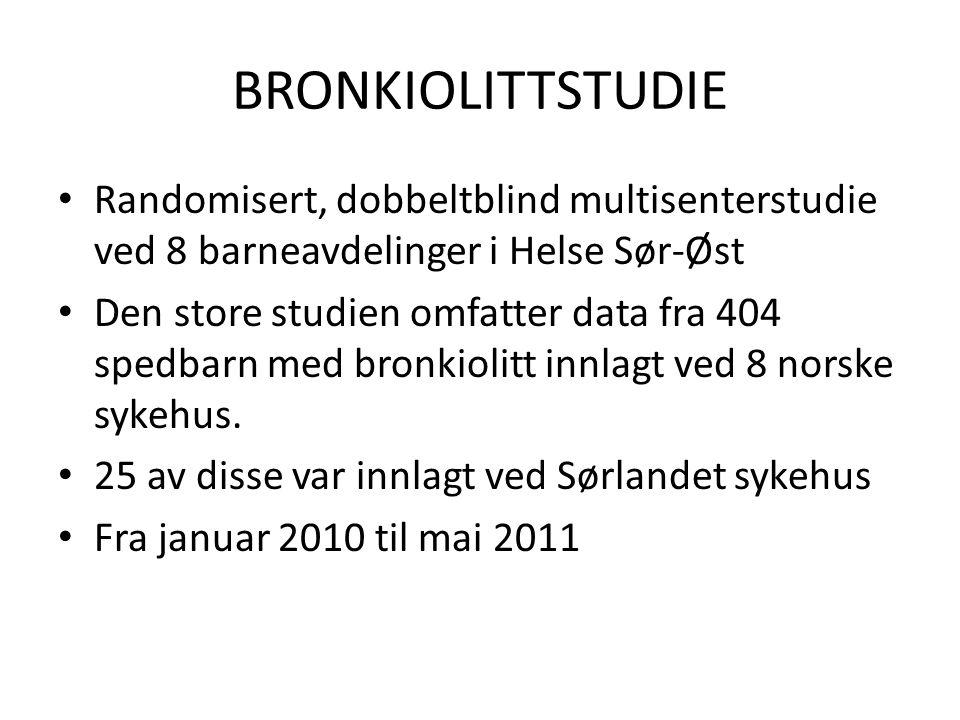 BRONKIOLITTSTUDIE Randomisert, dobbeltblind multisenterstudie ved 8 barneavdelinger i Helse Sør-Øst Den store studien omfatter data fra 404 spedbarn med bronkiolitt innlagt ved 8 norske sykehus.