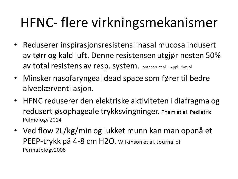 HFNC- flere virkningsmekanismer Reduserer inspirasjonsresistens i nasal mucosa indusert av tørr og kald luft.