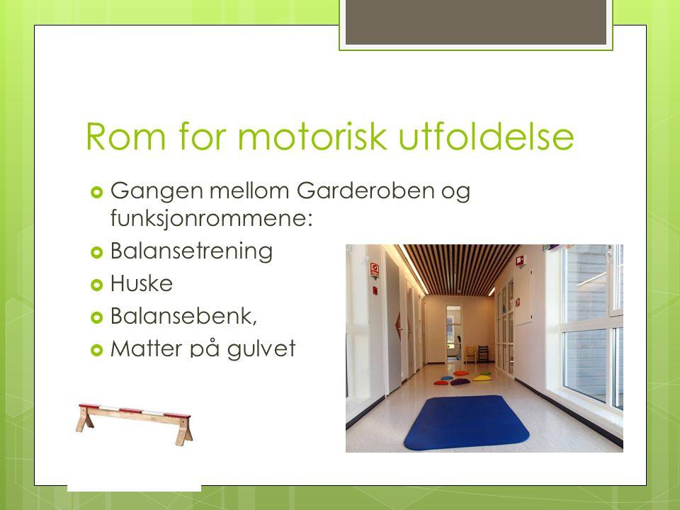 Rom for motorisk utfoldelse  Gangen mellom Garderoben og funksjonrommene:  Balansetrening  Huske  Balansebenk,  Matter på gulvet