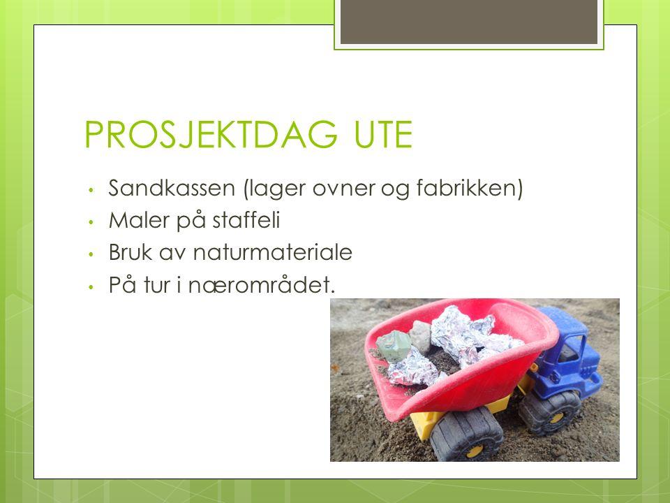 PROSJEKTDAG UTE Sandkassen (lager ovner og fabrikken) Maler på staffeli Bruk av naturmateriale På tur i nærområdet.