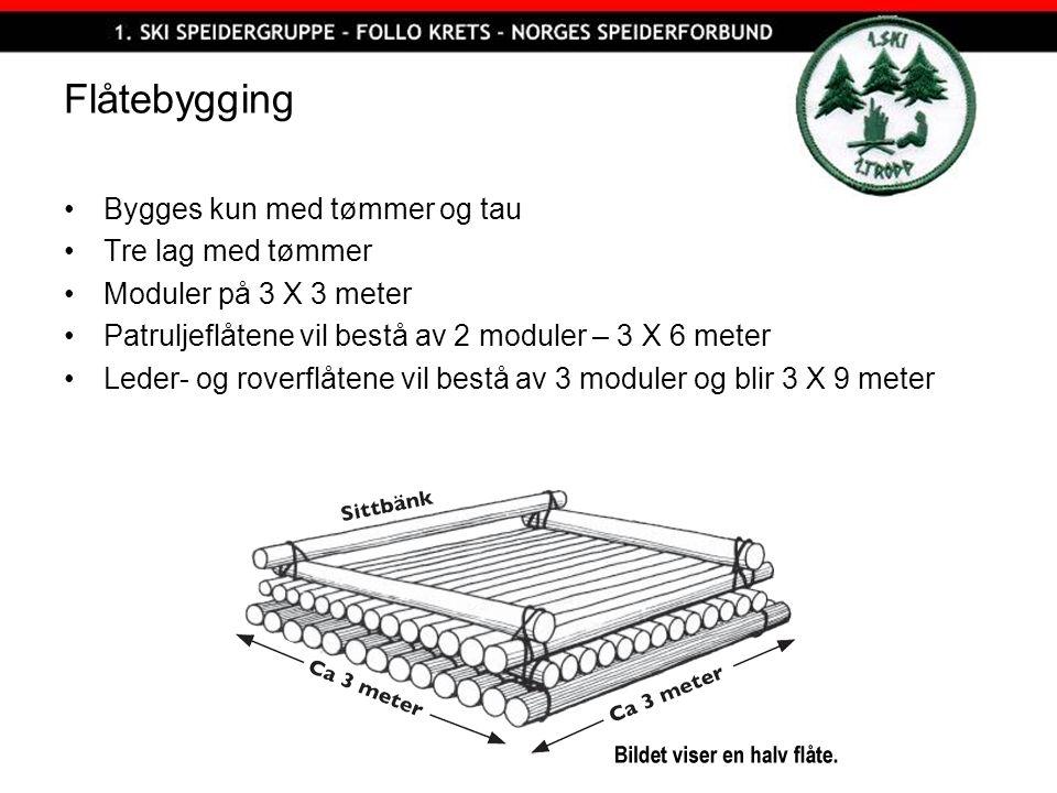 Flåtebygging Bygges kun med tømmer og tau Tre lag med tømmer Moduler på 3 X 3 meter Patruljeflåtene vil bestå av 2 moduler – 3 X 6 meter Leder- og roverflåtene vil bestå av 3 moduler og blir 3 X 9 meter