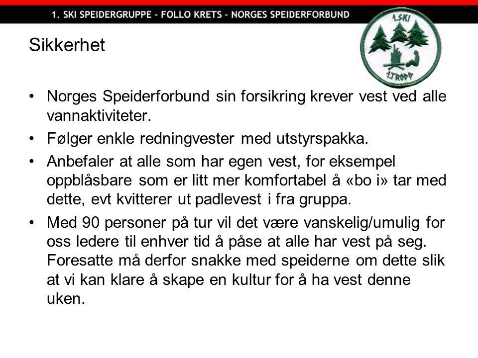Sikkerhet Norges Speiderforbund sin forsikring krever vest ved alle vannaktiviteter. Følger enkle redningvester med utstyrspakka. Anbefaler at alle so