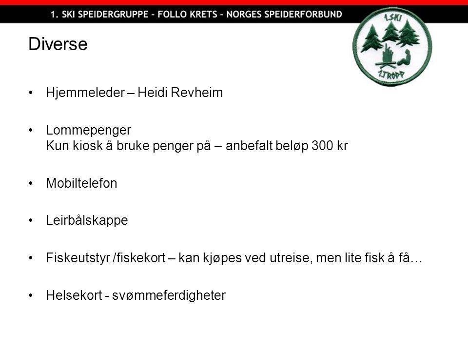 Diverse Hjemmeleder – Heidi Revheim Lommepenger Kun kiosk å bruke penger på – anbefalt beløp 300 kr Mobiltelefon Leirbålskappe Fiskeutstyr /fiskekort