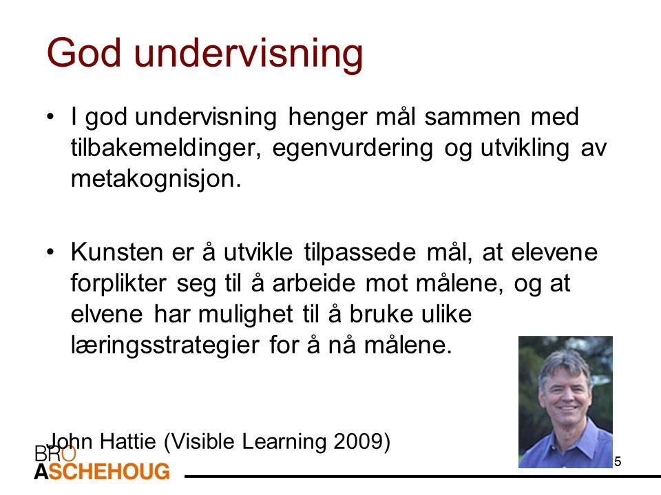 5 God undervisning I god undervisning henger mål sammen med tilbakemeldinger, egenvurdering og utvikling av metakognisjon. Kunsten er å utvikle tilpas
