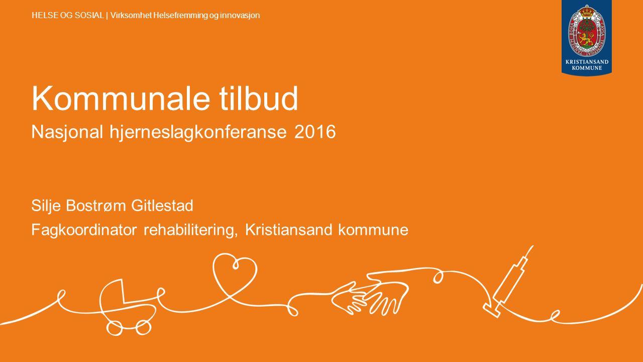 Kommunale tilbud Nasjonal hjerneslagkonferanse 2016 Silje Bostrøm Gitlestad Fagkoordinator rehabilitering, Kristiansand kommune HELSE OG SOSIAL | Virk