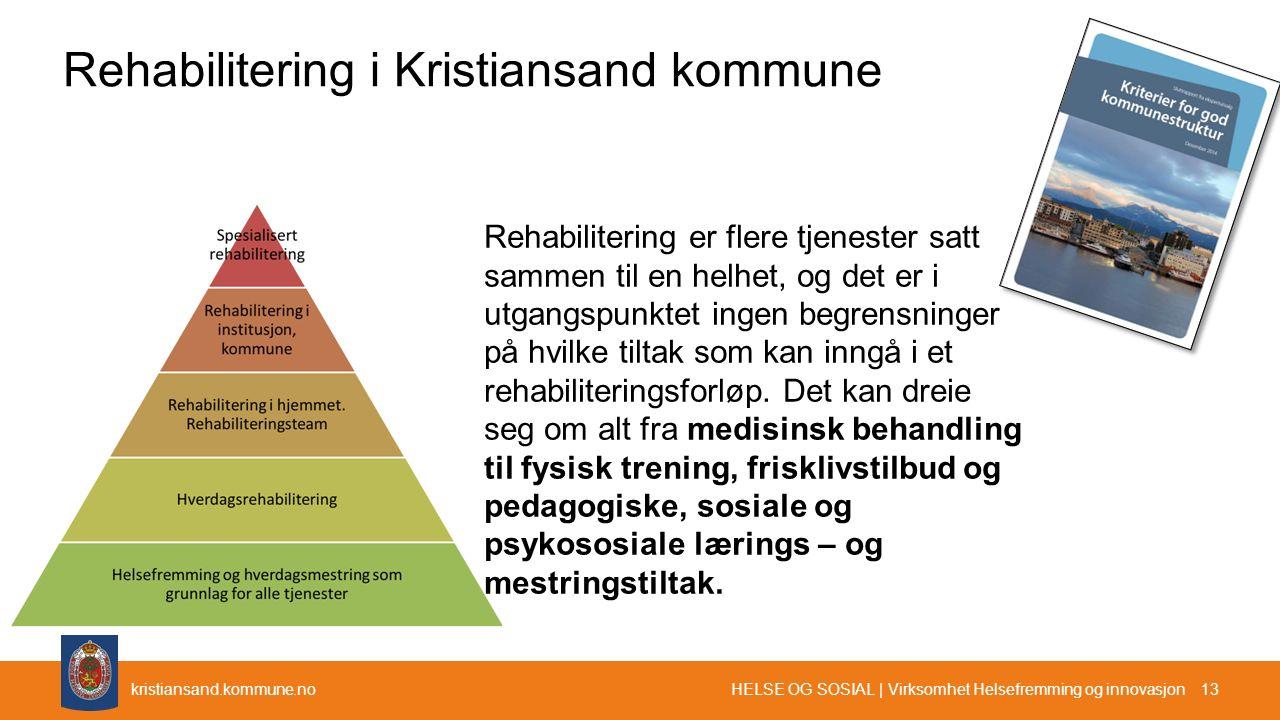 kristiansand.kommune.no Rehabilitering i Kristiansand kommune HELSE OG SOSIAL | Virksomhet Helsefremming og innovasjon 13 Rehabilitering er flere tjen