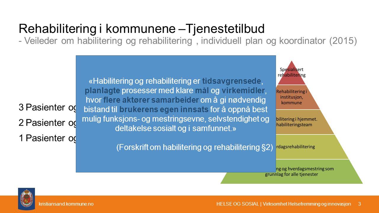 kristiansand.kommune.no Rehabilitering i kommunene –Tjenestetilbud - Veileder om habilitering og rehabilitering, individuell plan og koordinator (2015