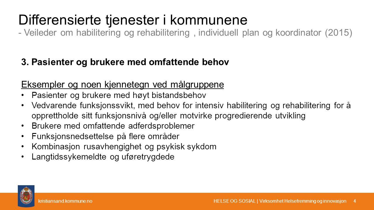 kristiansand.kommune.no Differensierte tjenester i kommunene - Veileder om habilitering og rehabilitering, individuell plan og koordinator (2015) 1 Pa