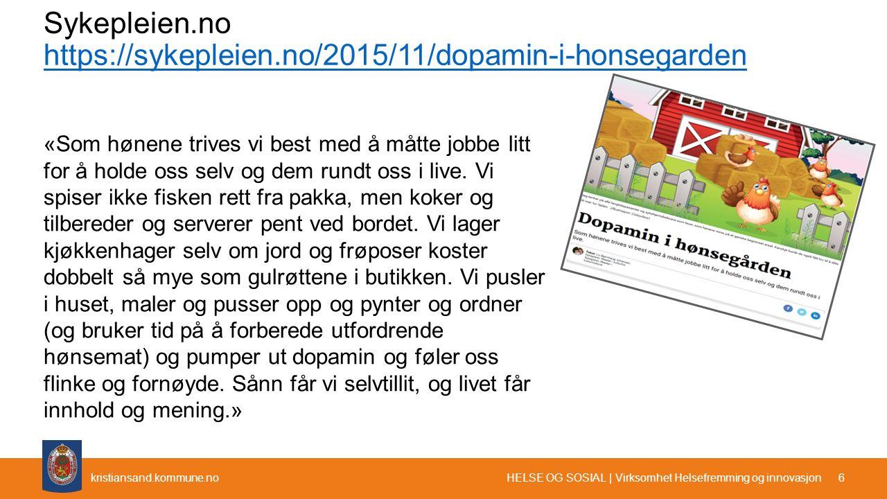 kristiansand.kommune.no Sykepleien.no https://sykepleien.no/2015/11/dopamin-i-honsegarden https://sykepleien.no/2015/11/dopamin-i-honsegarden «Som høn
