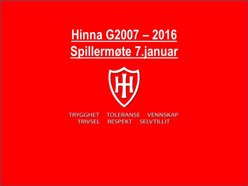 Hinna G2007 – 2016 Spillermøte 7.januar