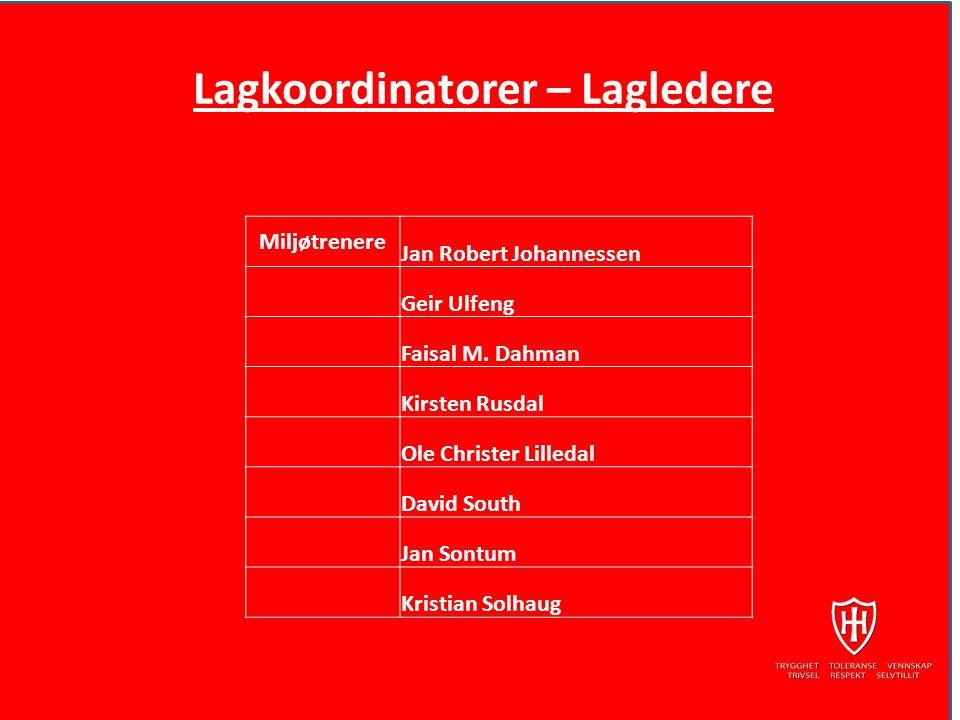 Lagkoordinatorer – Lagledere Miljøtrenere Jan Robert Johannessen Geir Ulfeng Faisal M.