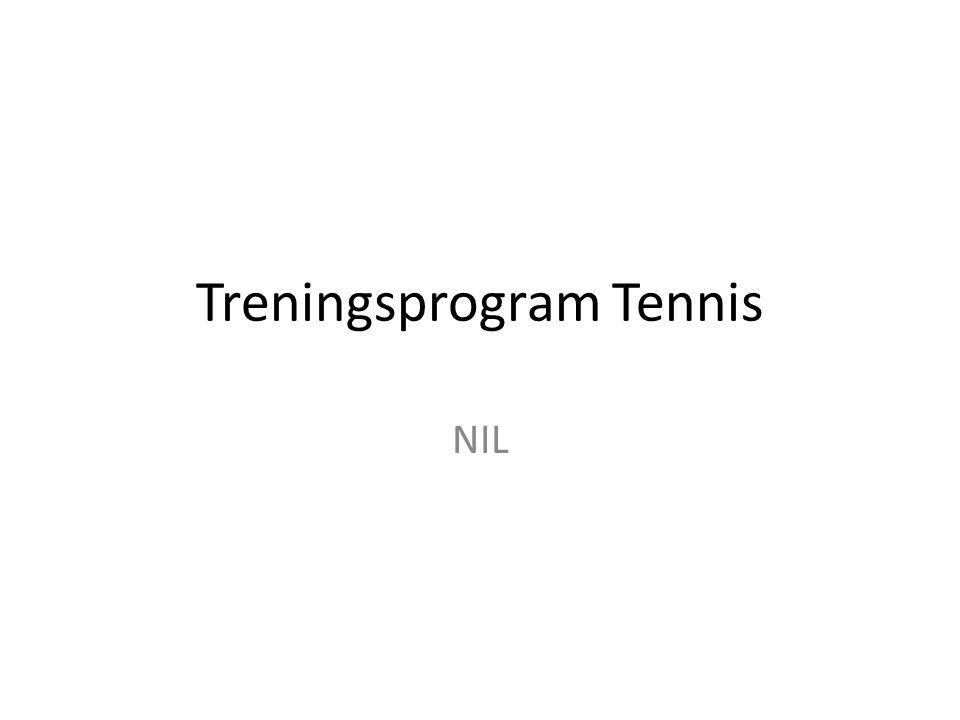 En tennistime skal inneholde Oppvarming 5 – 10 min Teknikk og taktikk 20 – 30 min Poengspill 15 – 20 min 5 min oppsumering/gjennomgang