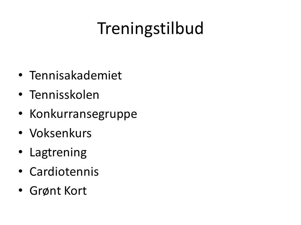 Treningstilbud Tennisakademiet Tennisskolen Konkurransegruppe Voksenkurs Lagtrening Cardiotennis Grønt Kort