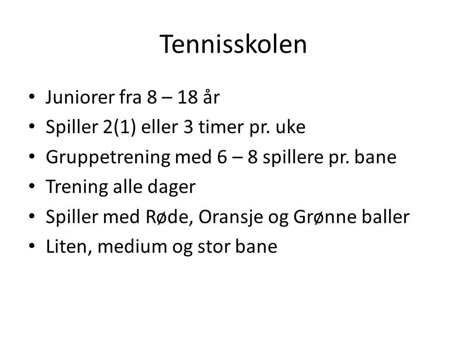 Tennisskolen Juniorer fra 8 – 18 år Spiller 2(1) eller 3 timer pr.