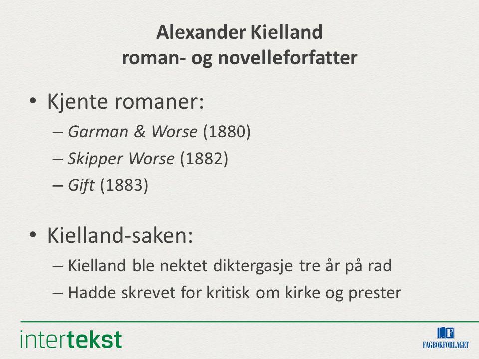 Alexander Kielland roman- og novelleforfatter Kjente romaner: – Garman & Worse (1880) – Skipper Worse (1882) – Gift (1883) Kielland-saken: – Kielland