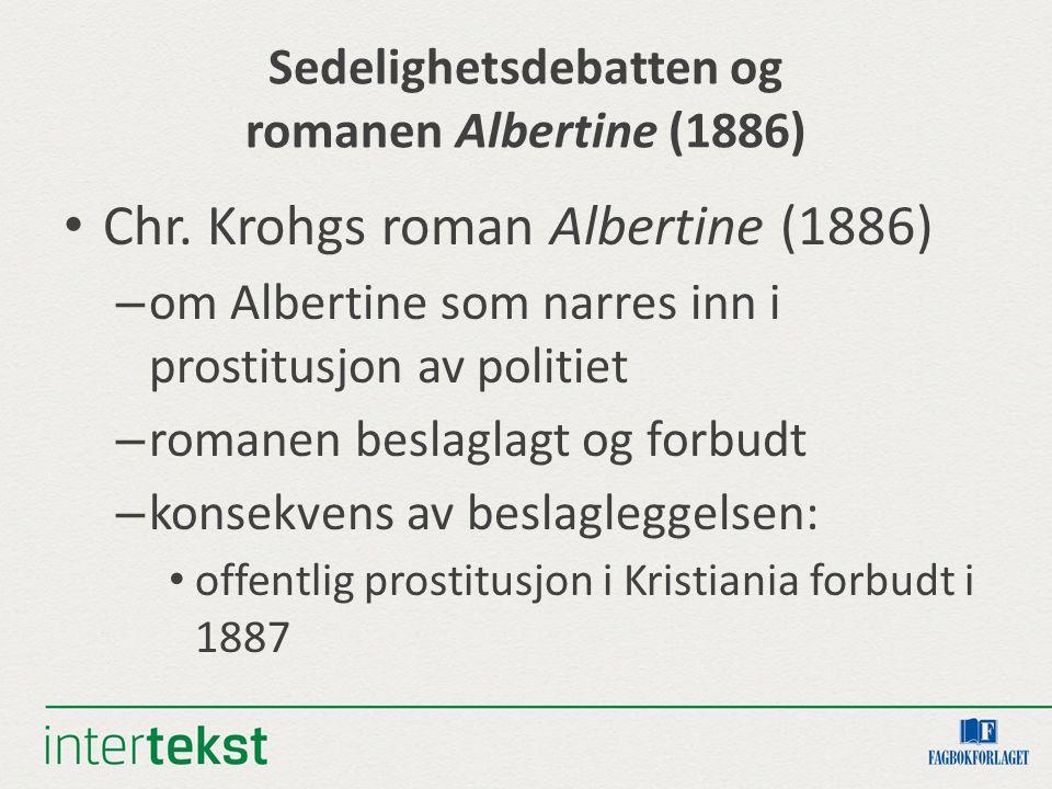 Sedelighetsdebatten og romanen Albertine (1886) Chr. Krohgs roman Albertine (1886) – om Albertine som narres inn i prostitusjon av politiet – romanen