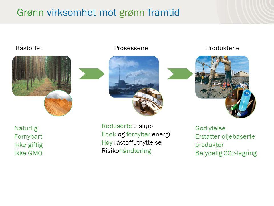 Grønn virksomhet mot grønn framtid RåstoffetProsesseneProduktene Naturlig Fornybart Ikke giftig Ikke GMO Reduserte utslipp Enøk og fornybar energi Høy råstoffutnyttelse Risikohåndtering God ytelse Erstatter oljebaserte produkter Betydelig CO 2 -lagring