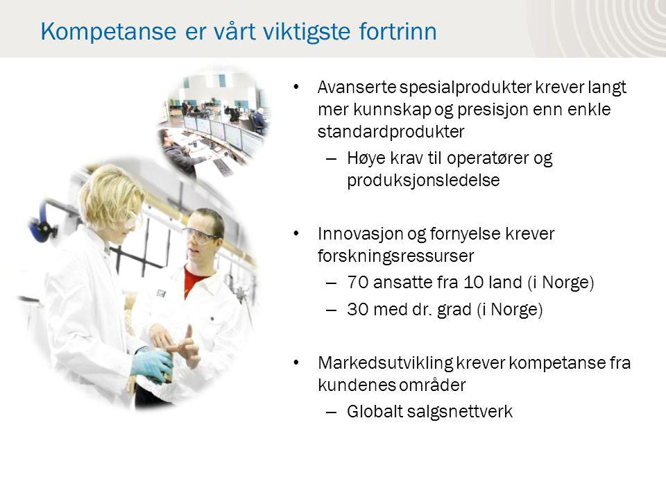 Kompetanse er vårt viktigste fortrinn Avanserte spesialprodukter krever langt mer kunnskap og presisjon enn enkle standardprodukter – Høye krav til operatører og produksjonsledelse Innovasjon og fornyelse krever forskningsressurser – 70 ansatte fra 10 land (i Norge) – 30 med dr.