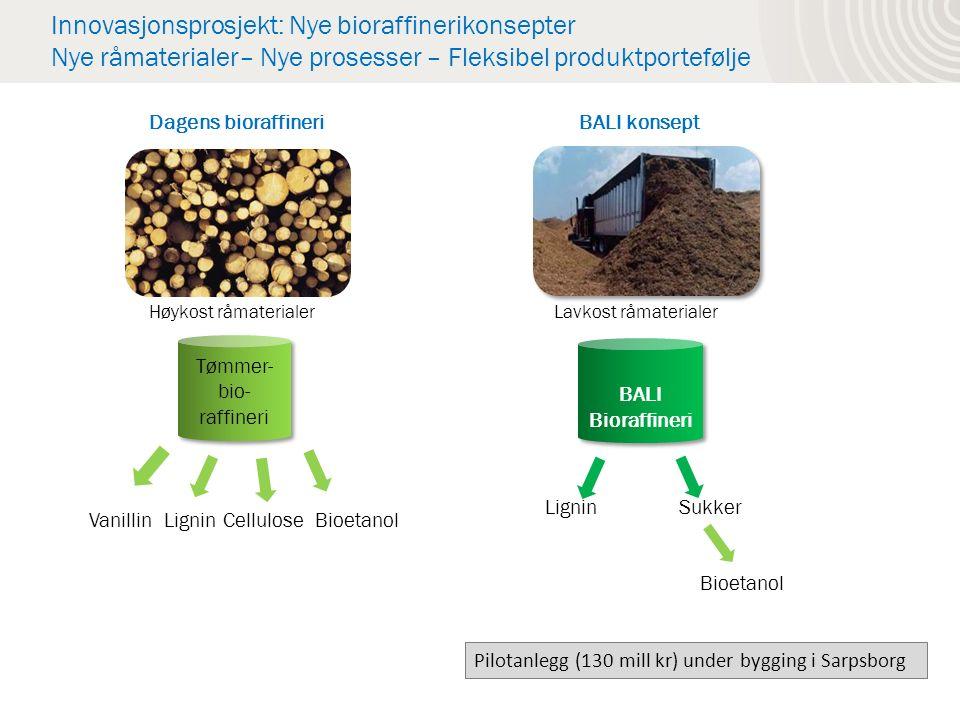 Innovasjonsprosjekt: Nye bioraffinerikonsepter Nye råmaterialer– Nye prosesser – Fleksibel produktportefølje Vanillin Lignin Cellulose Bioetanol Tømmer- bio- raffineri Tømmer- bio- raffineri BALI Bioraffineri BALI Bioraffineri Lavkost råmaterialerHøykost råmaterialer Dagens bioraffineriBALI konsept Lignin Sukker Bioetanol Pilotanlegg (130 mill kr) under bygging i Sarpsborg