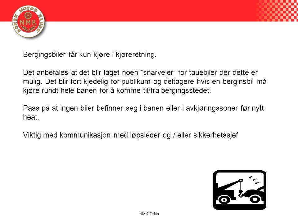 """Bergingsbiler får kun kjøre i kjøreretning. Det anbefales at det blir laget noen """"snarveier"""" for tauebiler der dette er mulig. Det blir fort kjedelig"""