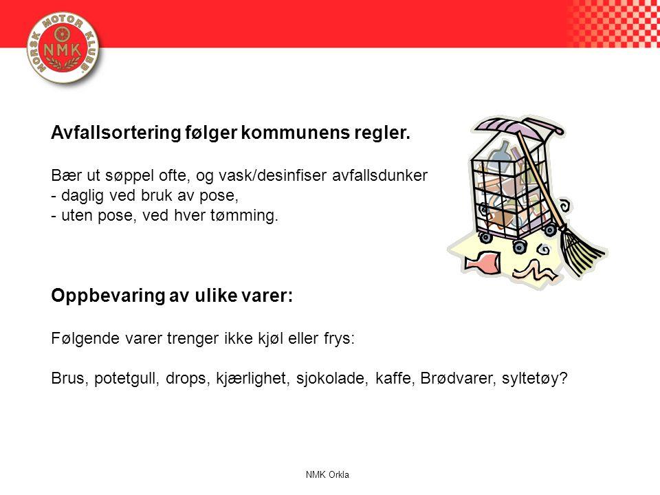 Avfallsortering følger kommunens regler.