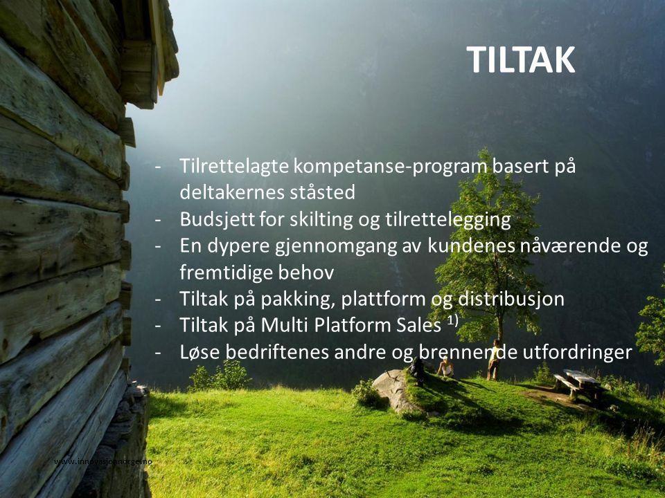 www.innovasjonnorge.no TILTAK -Tilrettelagte kompetanse-program basert på deltakernes ståsted -Budsjett for skilting og tilrettelegging -En dypere gje