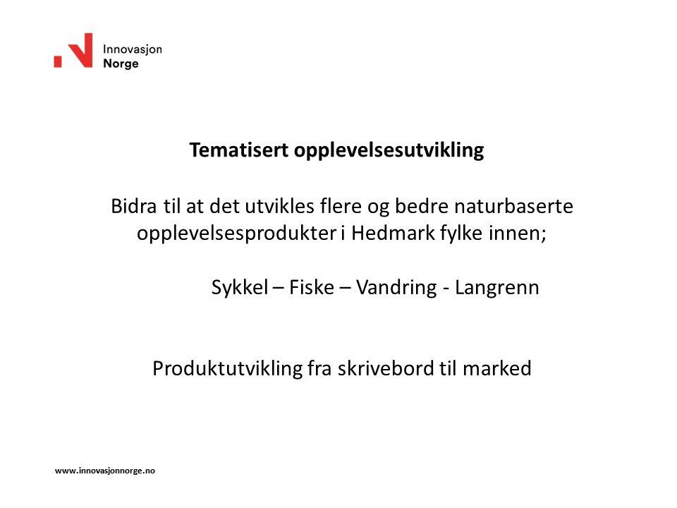 www.innovasjonnorge.no Tematisert opplevelsesutvikling Bidra til at det utvikles flere og bedre naturbaserte opplevelsesprodukter i Hedmark fylke inne