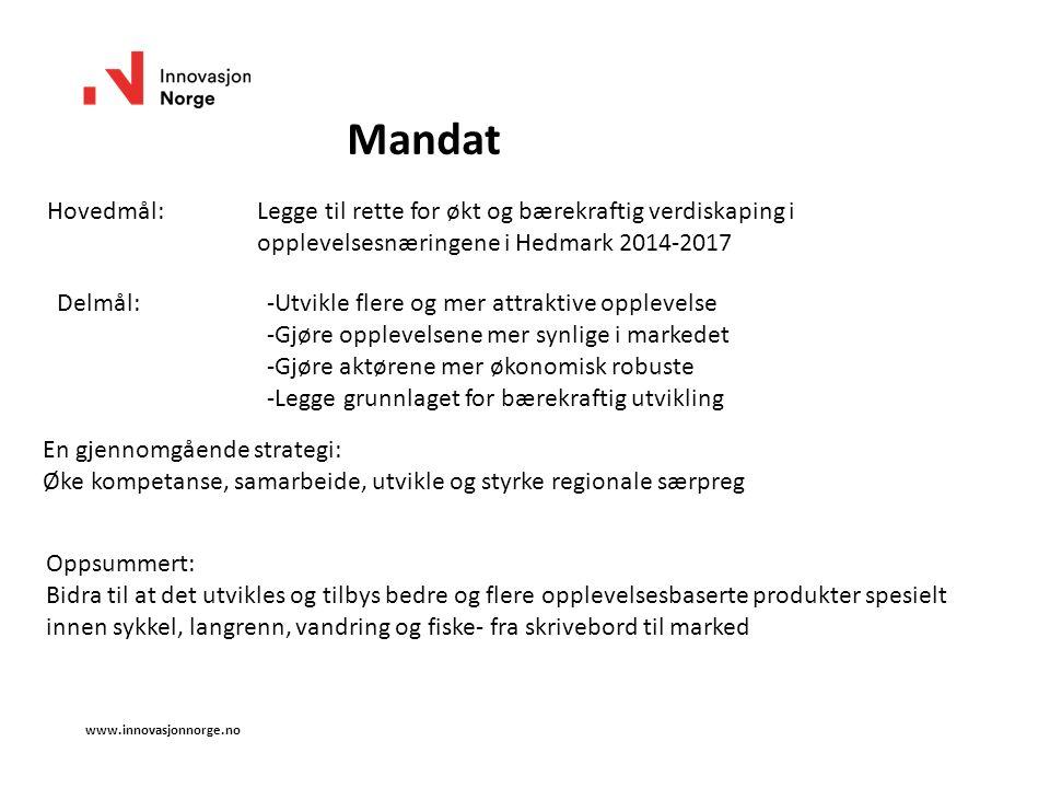 www.innovasjonnorge.no Mandat Hovedmål:Legge til rette for økt og bærekraftig verdiskaping i opplevelsesnæringene i Hedmark 2014-2017 Delmål:-Utvikle