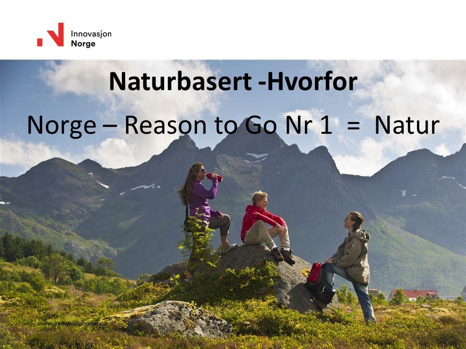 www.innovasjonnorge.no Naturbasert -Hvorfor Norge – Reason to Go Nr 1 = Natur