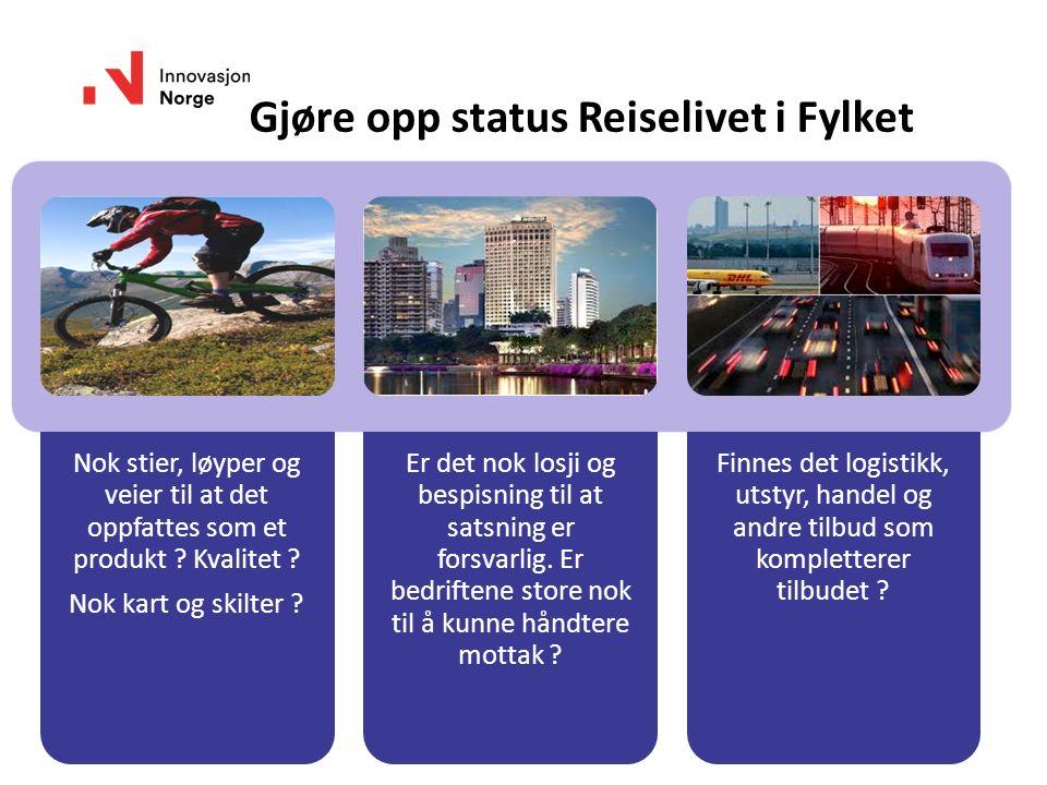 www.innovasjonnorge.no Gjøre opp status Reiselivet i Fylket Nok stier, løyper og veier til at det oppfattes som et produkt ? Kvalitet ? Nok kart og sk